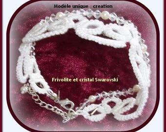 Tatting and Swarovski Crystal cuff style bracelet