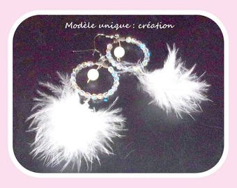 Earrings, hoop earrings, white feathers and SWAROVSKI crystal.
