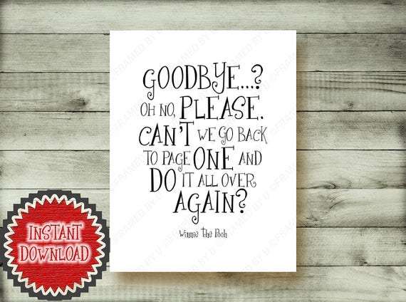 Winnie The Pooh Retirement Party Gift Goodbye Quote Moving Etsy