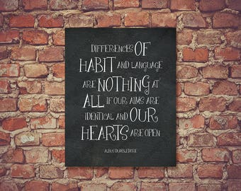 Albus Dumbledore Quote * Words of Wisdom * Poster * Differences of Habit * Harry Potter Office * Gift for Men * Wall Art * Home Decor 1024CB