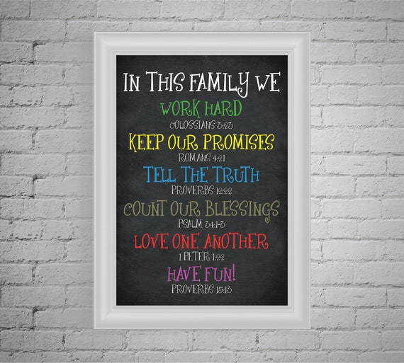 Printable Bible Quote In This Family House Rules Bible Verse Etsy
