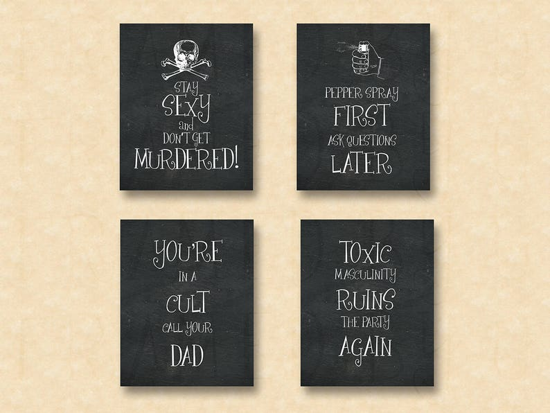 My Favorite Murder Stay Sexy Don't Get Murdered Set of 4 Quote Prints Gift  for Murderino Wife Girlfriend Mother Mom Sister Daughter 1471CB