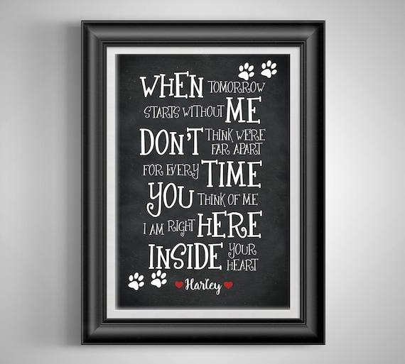 Aangepaste Gedicht Print Aangepaste Quote Afdrukken Huisdier Memorial Cadeau Dood Van Hield één Hond Sympathie Dood Sterfgeval Paw Prints