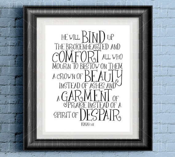 isaiah 61 bible quote bereavement poem sympathy loss of loved etsy