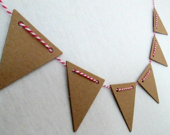 Cake Bunting Banner Kraft Natural Chipboard Pendants Die Cuts Triangle Pendants Scrapbooking Embellishment Cake Topper Bunting