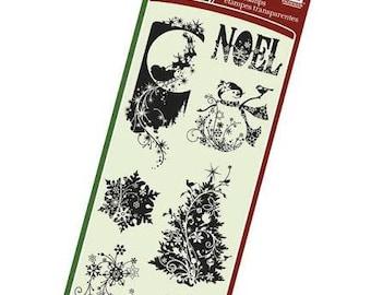 Inkadinkado Holiday Silhouettes Clear Stamp Set Christmas Stamps Christmas Card Stamps Snowman Flourish Stamps Christmas Tree Snowflake