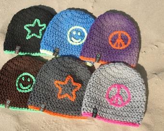 Children's hat neon with motif