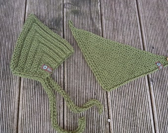 Pixie Hat and Triangle Scarf in Set
