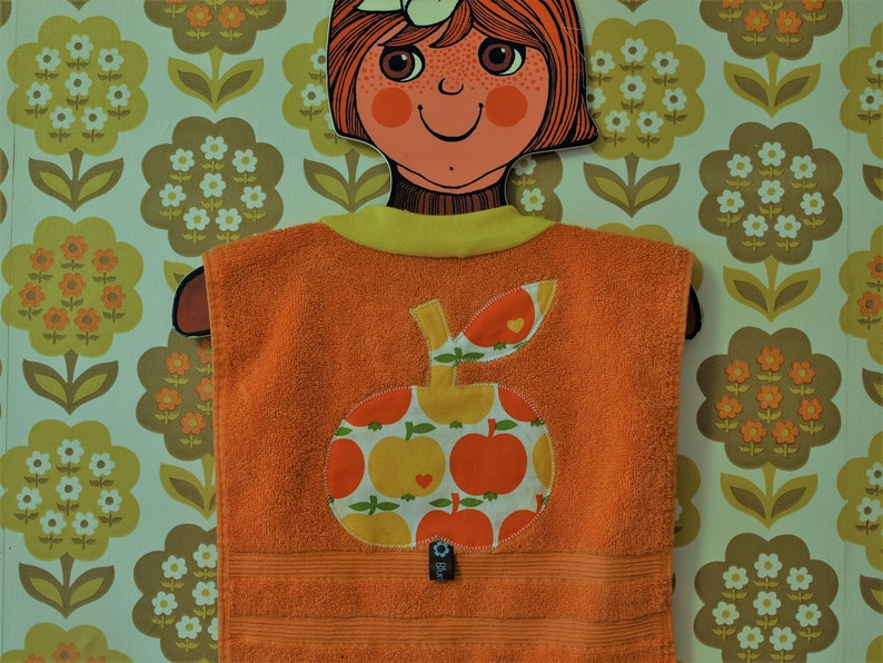 baby bib made from terry towel Orange