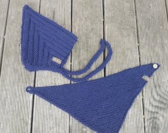 Pixie cap and triangular scarf in set dark blue 98/104