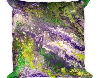 Twiddle Inspired- Jamflow Square Pillow- Reproduction of Painting by Hugatrie