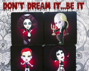The Rocky Horror Picture Show. Wooden coasters with illustrations of: Dr. Frank N furter. Magenta, Little Nell y Riff Raff.