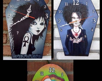 Endless wooden wall clock . Death, Dream or Delirium handmade wall clock. Own illustration based on Neil Gaiman's Sandman comics characters