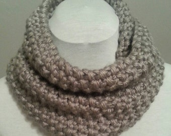 Gray Hand Knitted Infinity Cowl Scarf.  Winter Accessories.  Thick and Chunky.  Cowl Scarf.