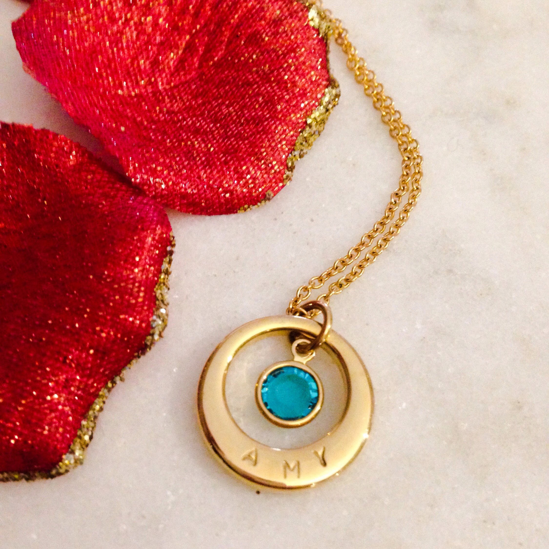 childrens personalised necklace with swarovski birthstone. Black Bedroom Furniture Sets. Home Design Ideas