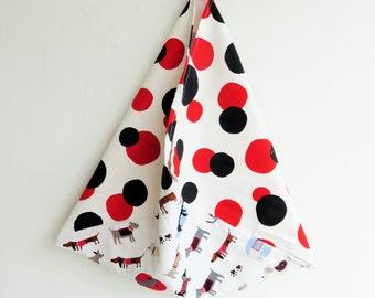cotton canvas bag, polka dot bag, original fabric bag, japanese bento bag, colorful market bag, eco friendly bag, reusable bag, gift for her