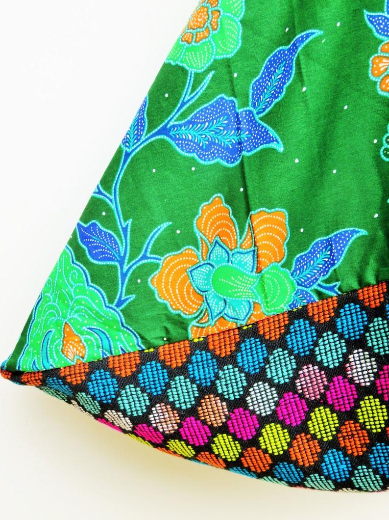 tote market bag bento bag batik fabric green bag gift idea for her batik bag cotton hobo bag Mexican fabric triangle bag fabric bag