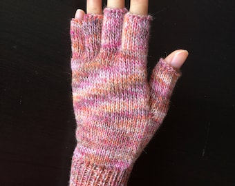 Half Mid Finger Gloves/Hand Warmers/Manicure/Driver/Bike/Bicycle Gloves (Pink Dust)