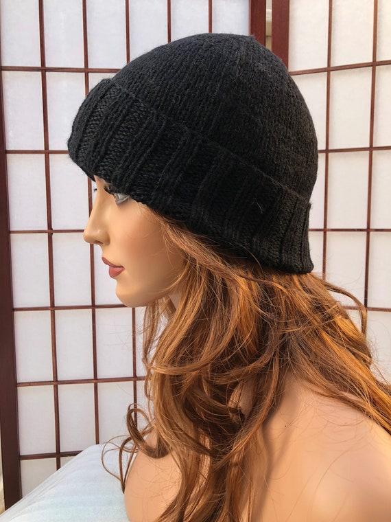 Hand Knitted Men Women Fisherman Watch Cap Beanie Hat BLACK  c985d990d2a