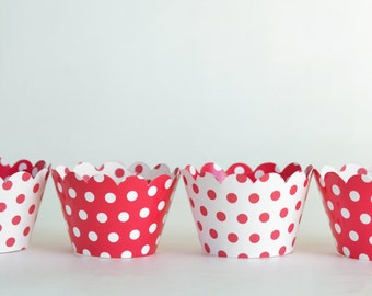 Cupcake Wrappers, 24 Cupcake Wraps, Red and White Party, Polka Dot Cupcake Wraps, Wedding, Graduation, Christmas, Valentine's Day, Birthday