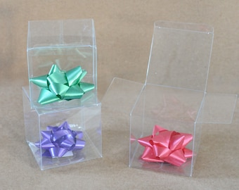 "Clear Favor Boxes, 20 Clear Boxes, Party Favor Boxes, Clear Plastic Boxes, Wedding Favor Boxes, Small Gift Boxes, Treat Boxes 3"" x 3"" x 3"""