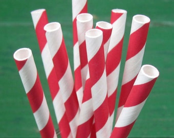 Paper Straws, Red and White Straws, Red Straws, Party Straws, Striped Straws, Wedding, Valentine's, Christmas, Birthday, Party Decoration