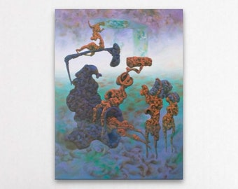 Strange Creatures, Original Surrealism, Abstract Canvas Art, Weird Art, Psychedelic, Biological, Large Colorful Wall Art, Creepy Art