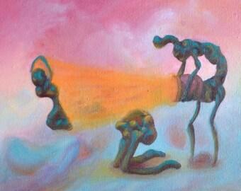 Weird Art, Small Wall Art, Surreal Painting, Colorful Wall Art, Strange Creatures, Original Surrealism, Weird Stuff, Modern Wall Art