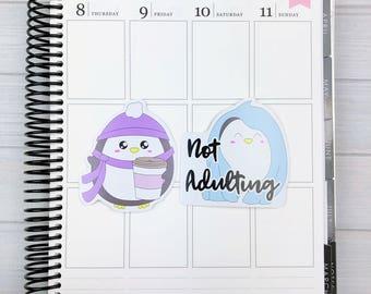Kawaii Penguin Diecut Sticker Set