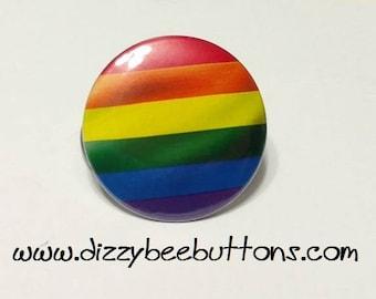 "LGBT Gay Pride Rainbow Flag - 1.25"" or 1.5"" - Pinback Button - Magnet - Keychain"