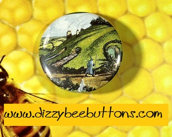"Hobbit book cover - 1.25"" or 1.5"" - Button - Magnet - Keychain-  J.R.R. Tolkien - The Hobbit - Lord of the Rings - Fantasy"