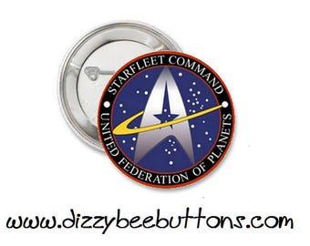 "Star Trek - Starfleet Command United Federation of Planets Logo- 1.25"" or 1.5"" - Pinback button - Badge - Magnet - Keychain - Trekkies"