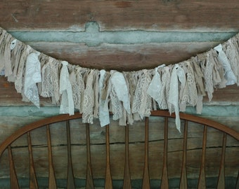 Beautiful Lacey White  Burlap Shabby Cottage Country Chic And Ivory Handmade Fabric Garland Bunting Valance Backdrop Mantle Decor Etc