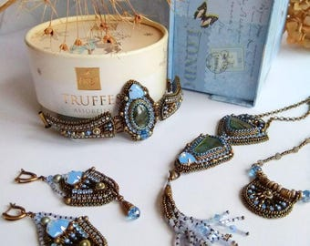 Art deco jewelry set unique rare jewelry bead embroidery parure seed bead tassel jewelry beadwork fashion necklace victorian designer jewels