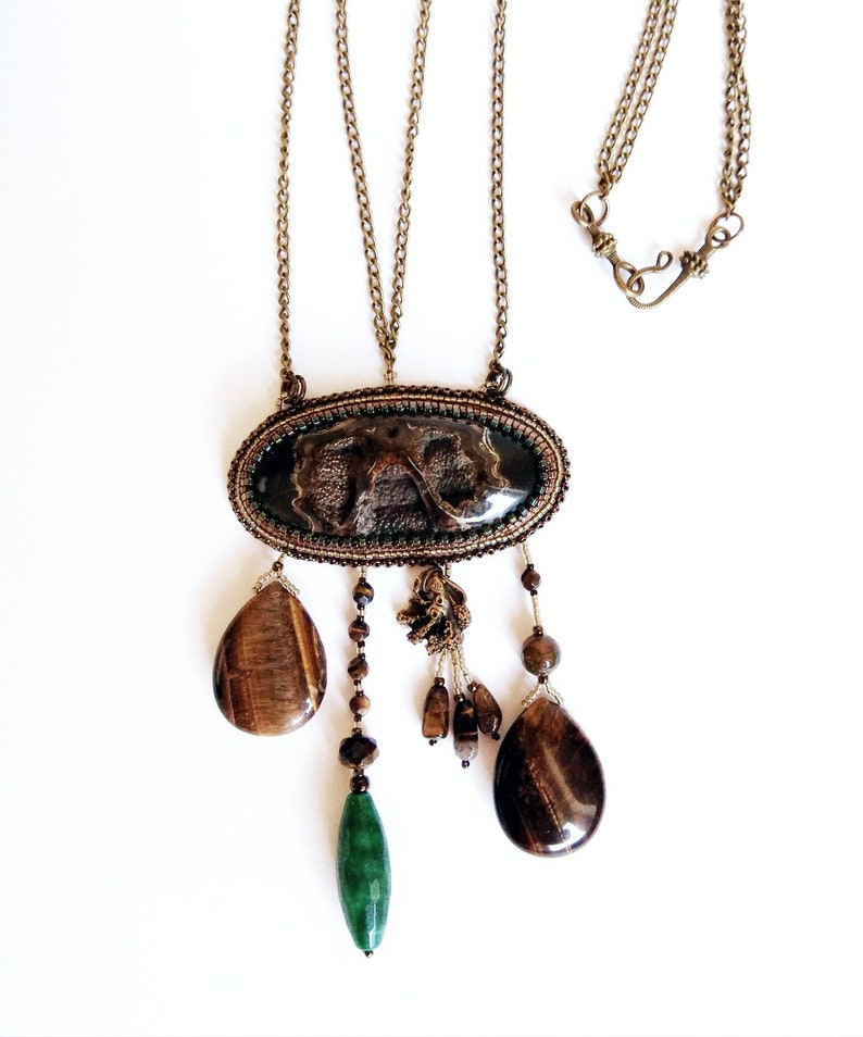 Bead embroidered necklace with gemstones mixed long brown boho tribal necklace statement necklace big unique simbircite geode druzy jewelry