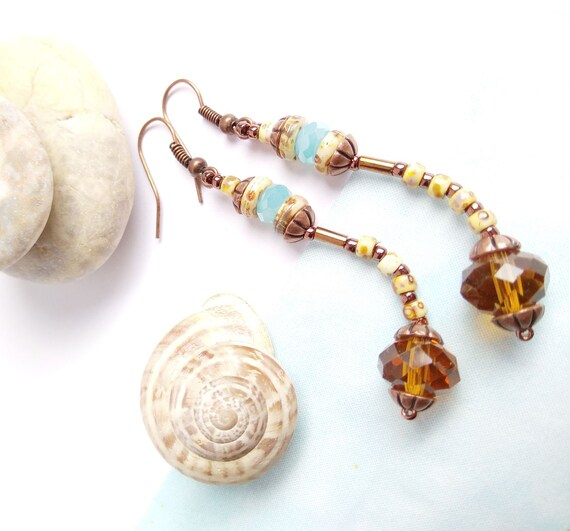 Huge Chunky Tortoise Shell Art Deco Boho Earrings Beige Light Brown Oval Hoop Dangle 74mm Silver 925 Gold Pendants