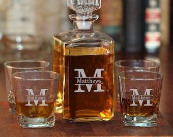 Whiskey Decanter | Decanter Set | Personalized Decanter Set with Rock Glasses | Engraved Decanter | Decanter | Groomsmen Gift | Gift for Men