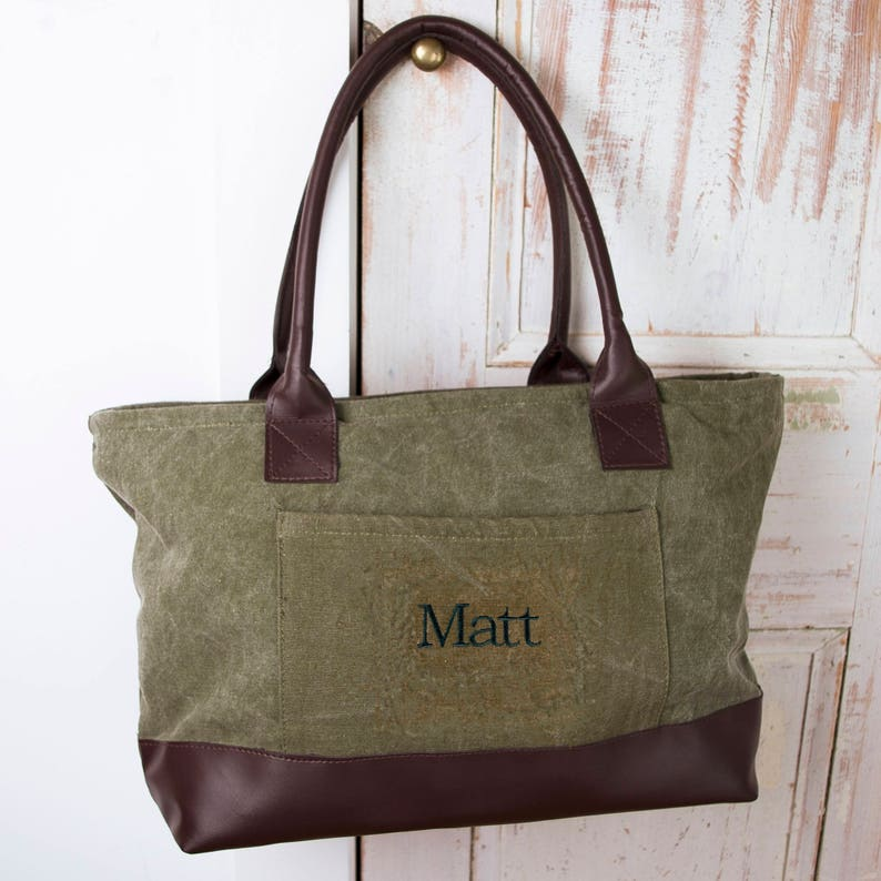 b1ba6531936a Olive Green Tote Bag Personalized Canvas Tote Tote for Men