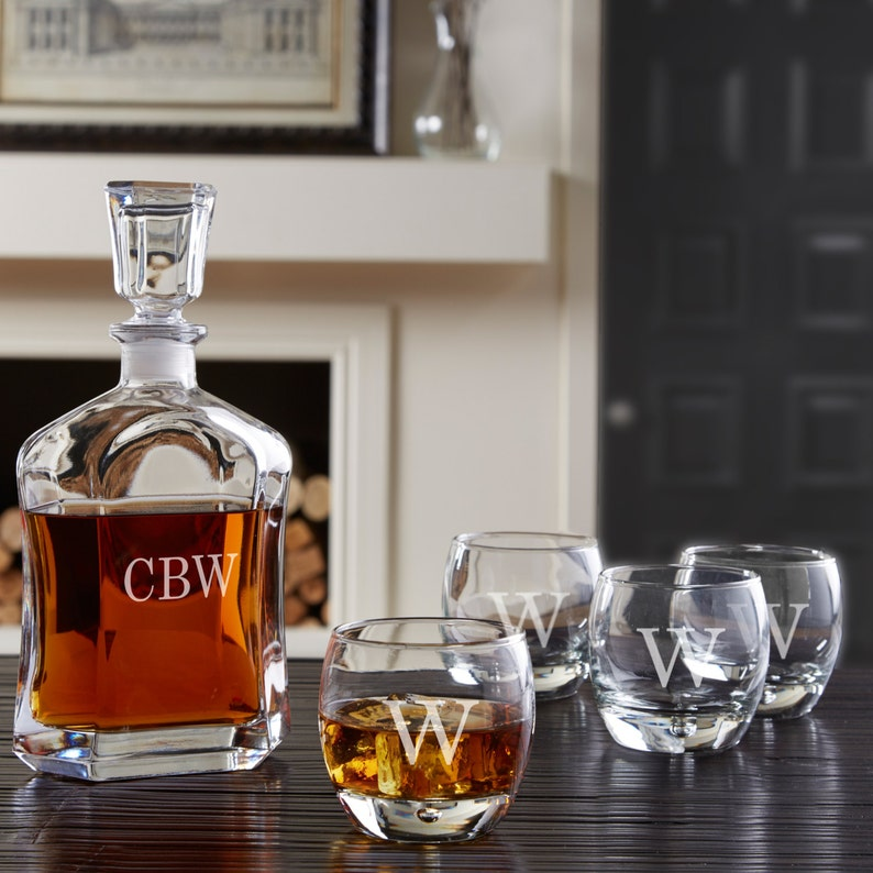 ff582e4d9d2 Custom Whiskey Decanter Set | Personalized Housewarming Gift | Engraved  Liquor Decanter & 4 Rocks Glasses | Groomsmen Gift | Gifts for Home