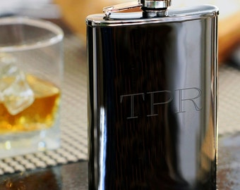Engraved Gunmetal Flask | Personalized Flask for Special Occasion | Custom Hip Flask | Groomsmen Flask | Gift for Men | Free Personalization
