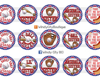 Baseball Sister Bottle Cap Images, T-Ball Sister Bottle Cap Images, All About That Base Bottle Cap Images (Red and Blue)