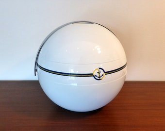 Guzzini white ice bucket with nautical theme – original from the 1970s