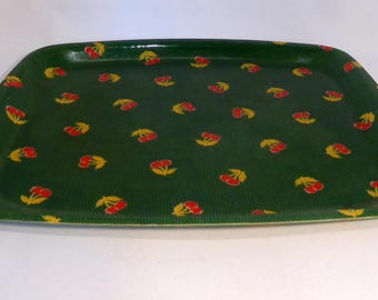 Fiberglass/resin green spotty tray with cherry design – original from the 1970s
