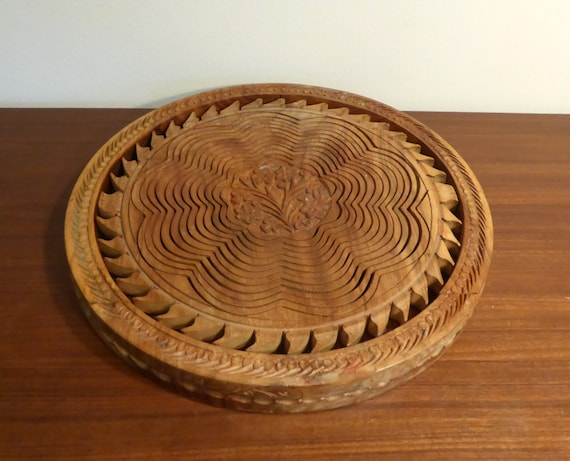 Vintage Wooden Collapsible Fruit Bowl Made In India