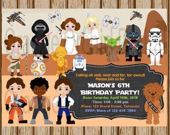 Star Wars Birthday Invitation Party Finn Rey BB 8 Poe Yoda Darth Vadar Leia Chewbacca 5 X 7 Size Digital