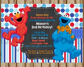 Elmo And Cookie Monster Birthday Invitations Boys Sesame Street