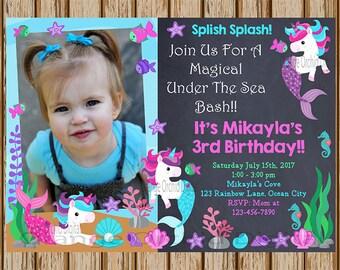 Unicorn Mermaid Birthday Invitations ADD A PICTURE Party Invites Under The Sea
