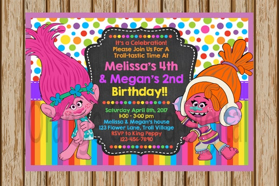 Trolls Birthday Invitations Party Poppy And