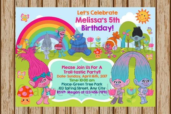 Trolls Birthday Invitations Party Poppy DJ
