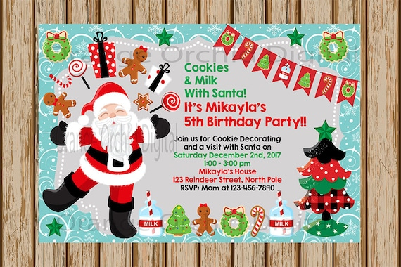 Cookies With Santa Invitation Cookie Decorating Birthday Invitation Cookie Exchange Invite Cookie Decorating Party 4 X 6 Size Digital